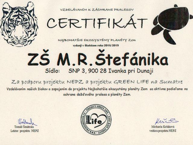 Certifikát za podporu projektu