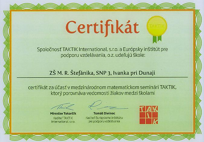 Certifikát za účasť v matematickom seminári Taktik 2008