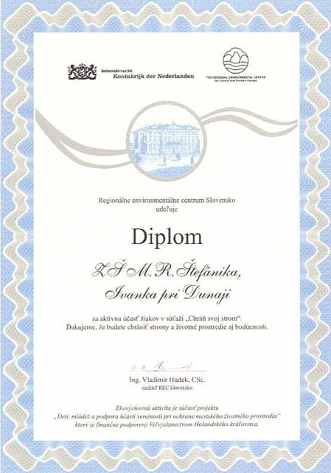 """Diplom za účasť v súťaži """"Chráň svoj strom"""""""