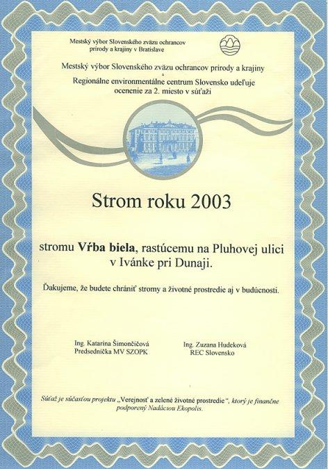 """""""Strom roku 2003"""""""