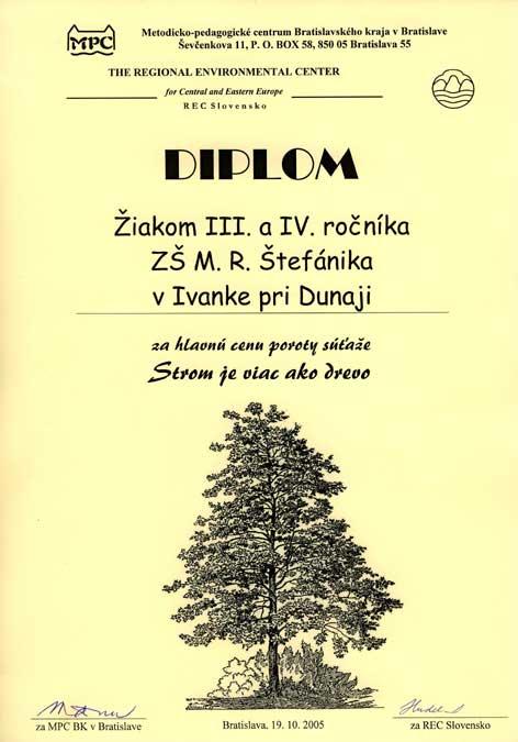 """Hlavná cena """"Strom je viac ako drevo"""""""