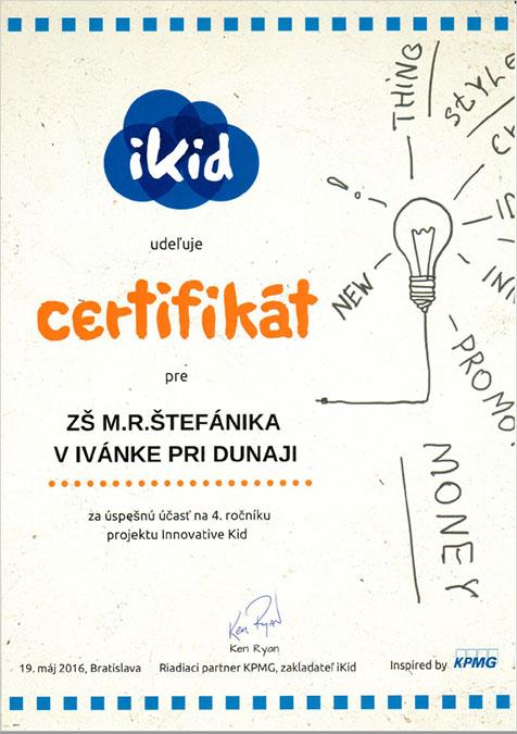 iKid certifikát za úspešnú účasť Innovative Kid