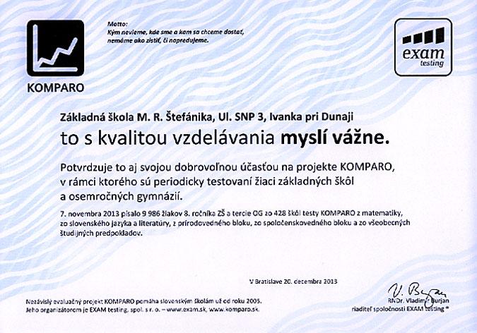 Potvrdenie účasti v projekte KOMPARO 2013 - 8. ročník