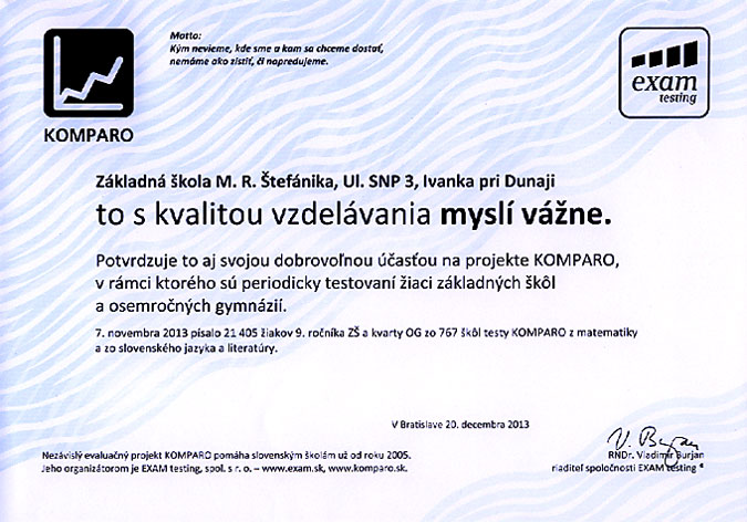 Potvrdenie účasti v projekte KOMPARO 2013 - 9. ročník