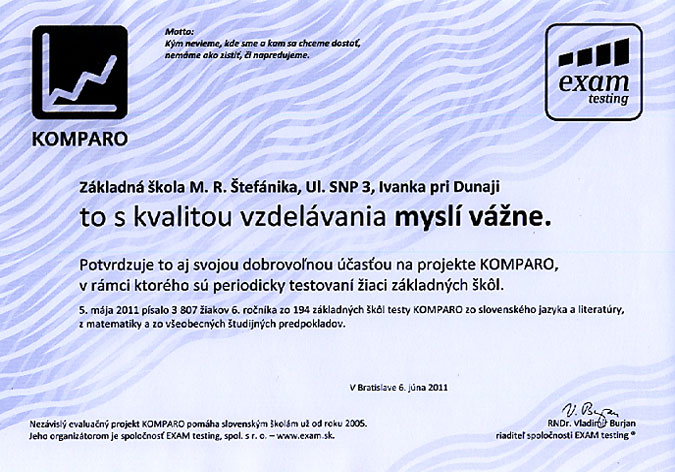 Potvrdenie účasti v projekte KOMPARO 2011 - 6. ročník
