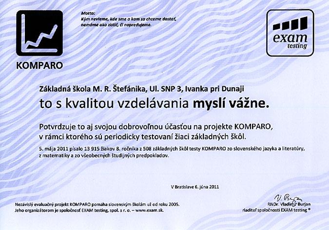 Potvrdenie účasti v projekte KOMPARO 2011 - 8. ročník