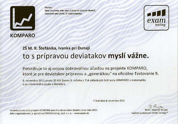Potvrdenie účasti v projekte KOMPARO 2011 - 9. ročník