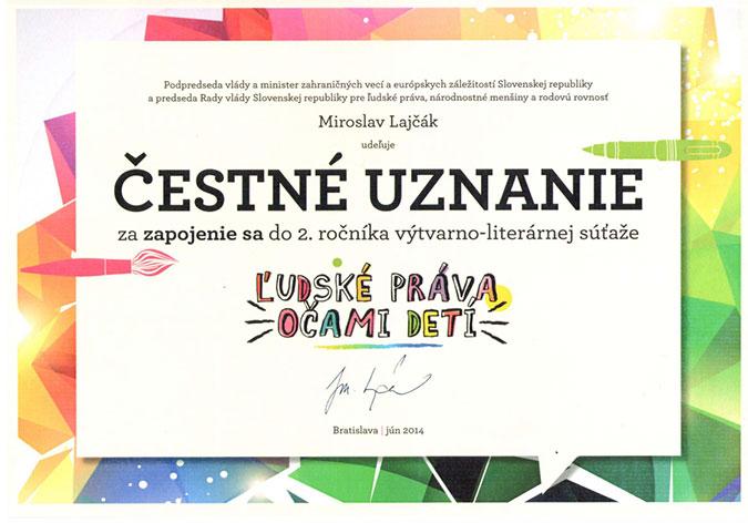 Čestné uznanie za zapojenie do súťaže Ľudské práva očami detí