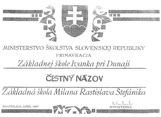 Prinavrátenie čestného názvu Základná škola M. R. Štefánika