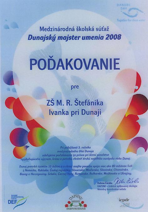 """Poďakovanie """"Dunajský majster umenia 2008"""""""