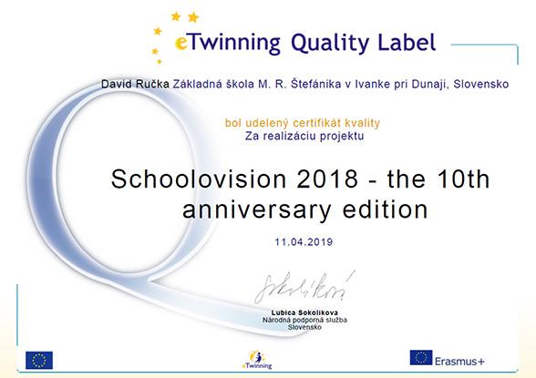 Schoolovision 2018 eTwinning Quality Label