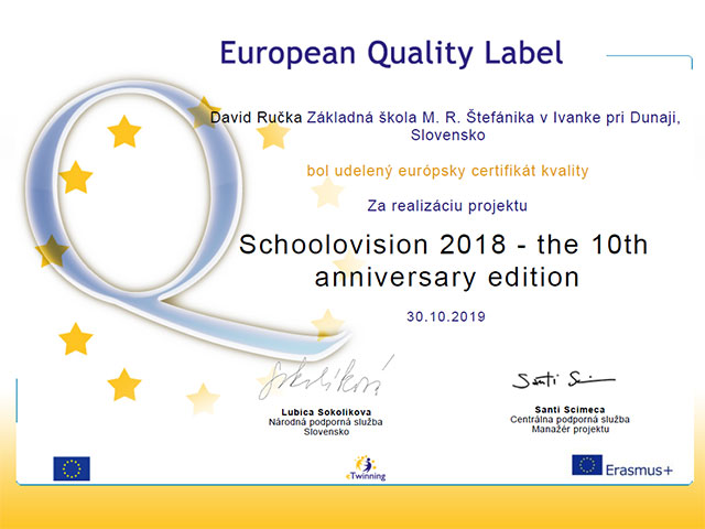 Schoolovision 2018 European Quality Label
