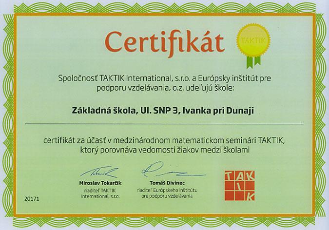 Certifikát za účasť v matematickom seminári Taktik 2011