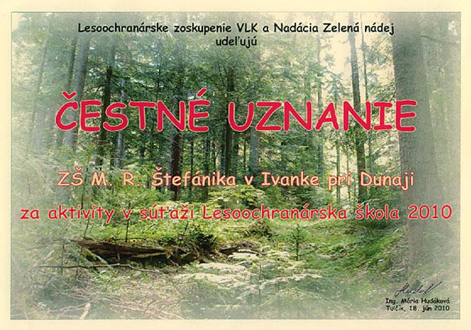 """Čestné uznanie v súťaži """"Lesoochranárska škola 2010"""""""